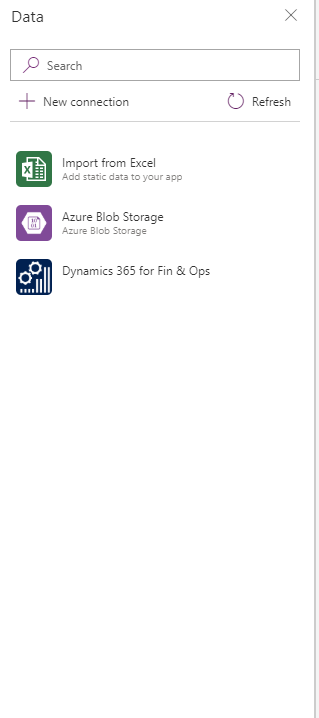 powerapps d365 datasources connections