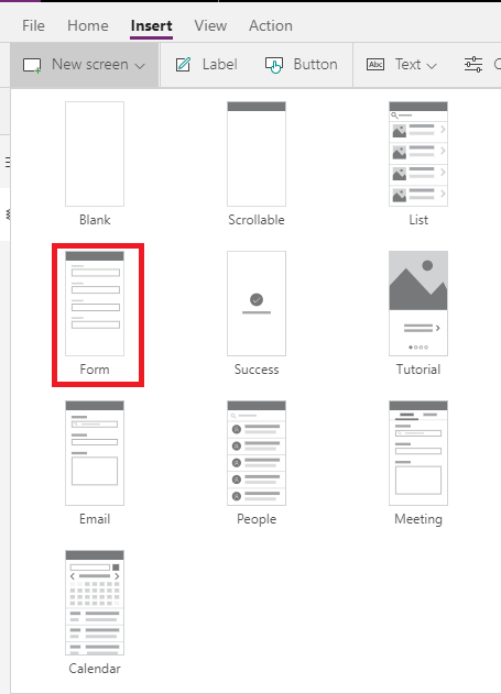 powerapps new insertscreen