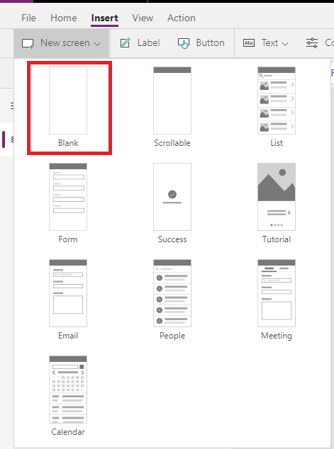 PowerApps New Blank Screen