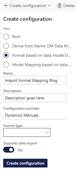 Create new import format mapping