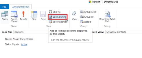 Click Edit Columns to add or remove columns