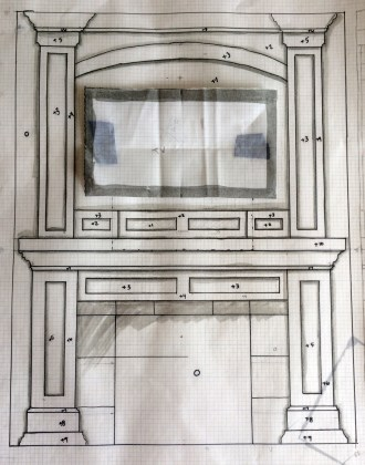 """Fire place drawing 1/8"""" = 1"""""""