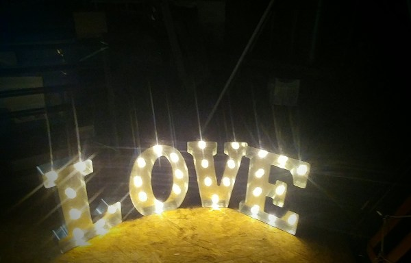 Silver Love Maquee Sign