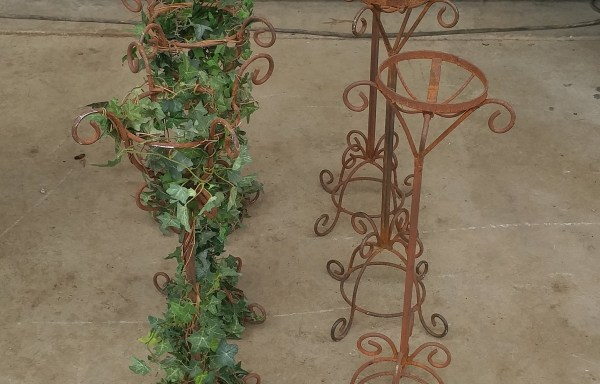 Aged Metal Candle & Floral Stand Set