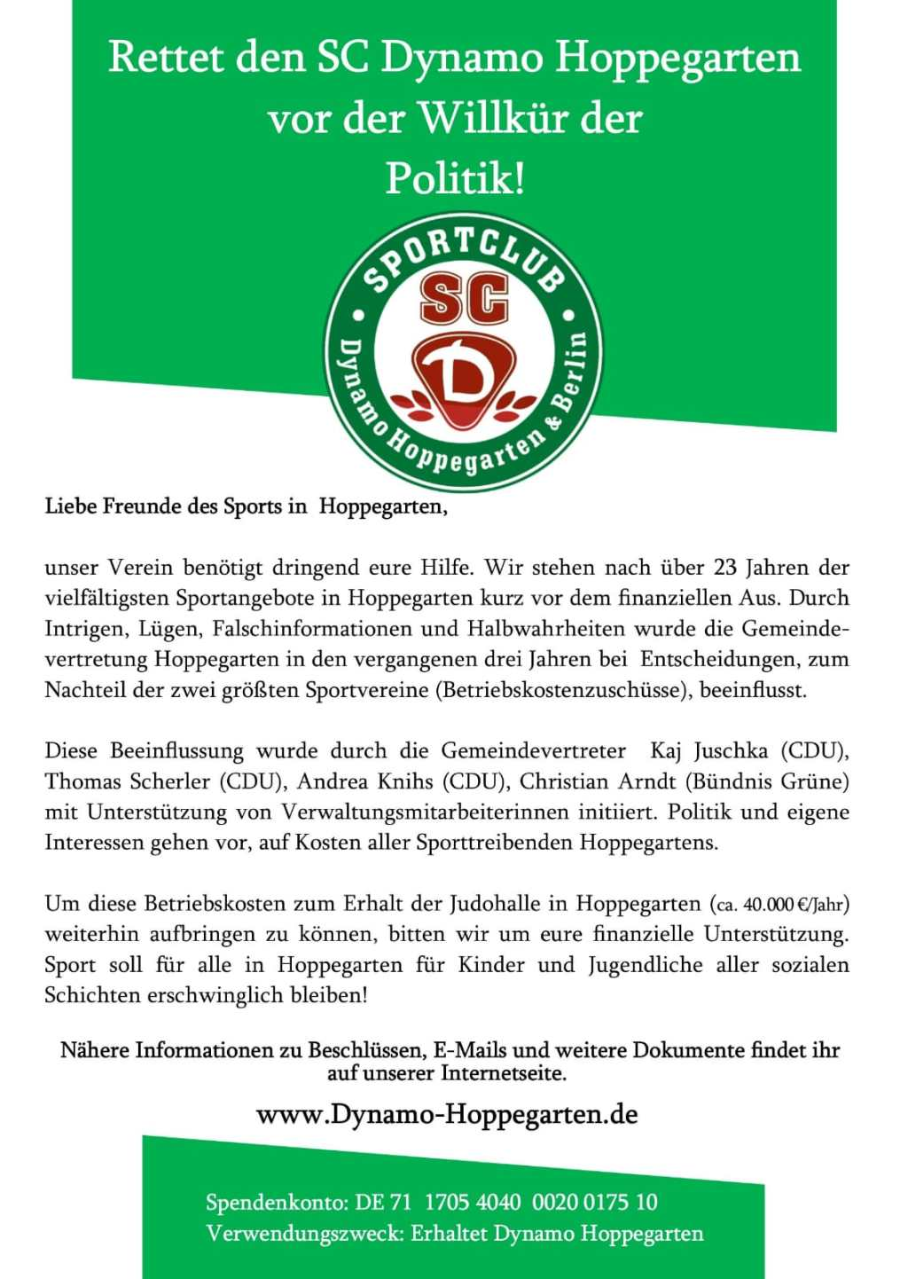 Großer Spendenaufruf für den SC Dynamo Hoppegarten