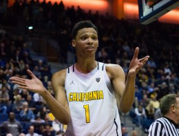 Feb 2, 2017; Berkeley, CA, USA; California Golden Bears forward Ivan Rabb (1) reacts after a play by the Utah Utes during the second overtime period at Haas Pavilion. The California Golden Bears defeated the Utah Utes 77-75 in double overtime. Mandatory Credit: Kelley L Cox-USA TODAY Sports