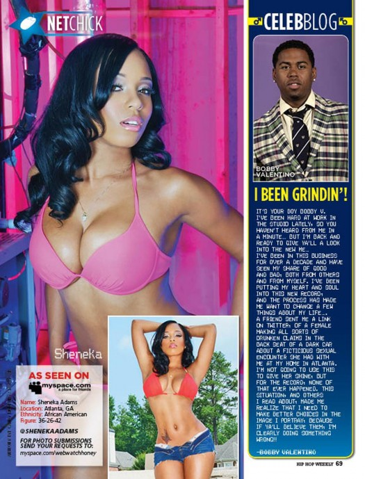 Sheneka Adams is Web Honey is latest issue of HipHopWeekly