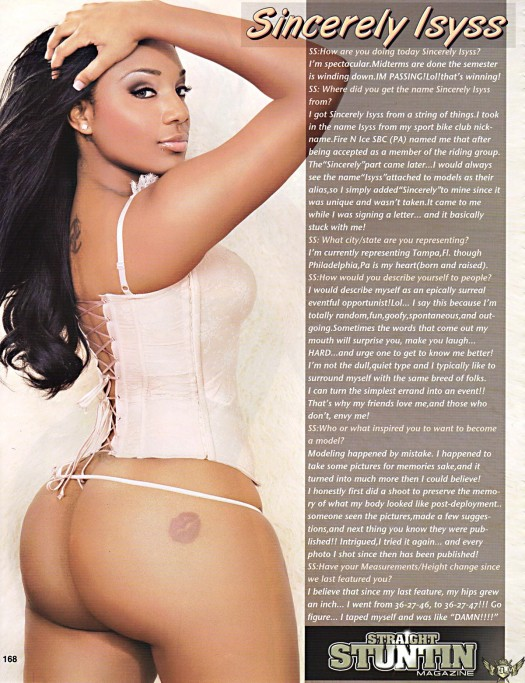 Sincerely Isyss in latest issue of Straight Stuntin - courtesy of VXN Studios