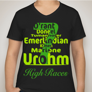 black t shirt with green text with the high races of dragon keeper chronicles