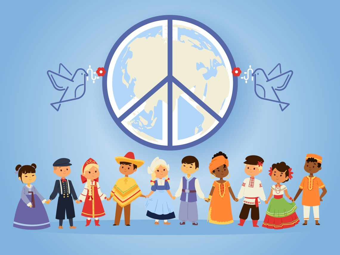 Peace united nations, vector illustration. People of different r