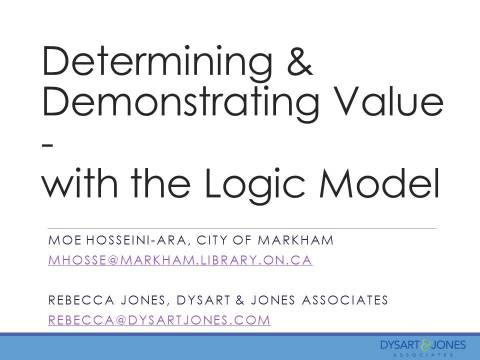 Measurement Institute at the ischool May 2015  Determining & Demonstrating Value with the Logic Model with Moe