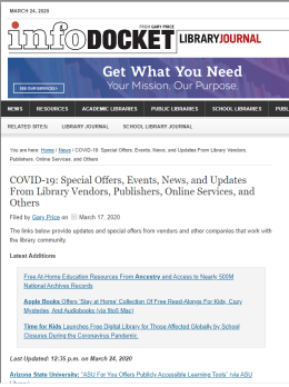 COVID-19: Special Offers, Events, News, and Updates From Library Vendors, Publishers, Online Services, and Others