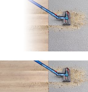 Cutaway image of the Dyson V11 Pro vacuum picking up debris on hard floor and carpet