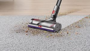 The Dyson V11 Pro vacuum cleaner vacuums debris from wooden floor and carpet