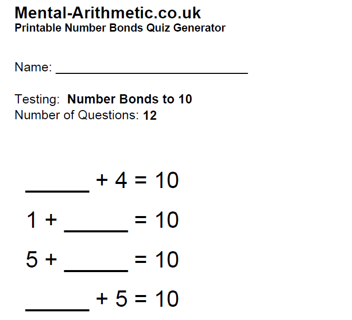 Help With Number Bonds To Ten Games And Tips Dyspraxia Kids