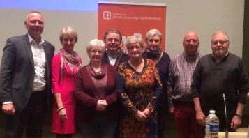 Board of the Belgian Dystonia Association together with speakers and sponsor representative from Merz.