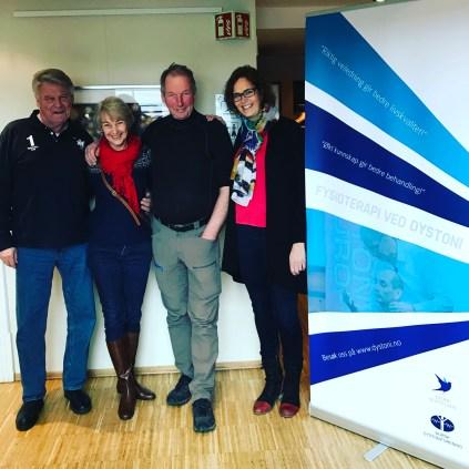 SDF leader Bengt-Erik Calles, Monika Benson from Dystonia Europe with Johan and Anniken.