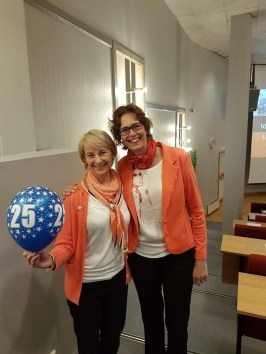 Dystonia Europe Executive Director Monika Benson with former Chair woman of NDF Anniken Hansen.