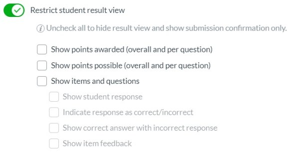 Restrict student result view options