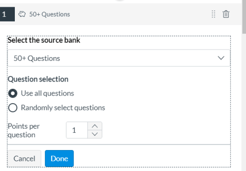 Item Bank question selection, all or random