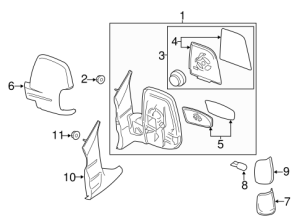 Ford Transit150250350 Lh Left Driver Side Door Black Mirror  Ford (CK4Z17683AA) | TascaParts