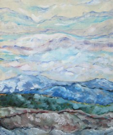 "Mark Smith As an Art Education student at Western Oregon University in Monmouth, I was often struck by how similar the landscape of the Coast Range was to the clouds. My painting is titled ""Willamette Rainbow."""
