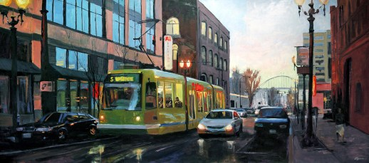 "Paul Zegers ""Streetcar Triptych"" 48""x108"" oil on stretched canvas. While walking along NW 11th in Portland after an evening rain, I was attracted by the reflected lights. I grabbed a photo with my phone and later painted the image across 3 canvas panels that I bolted together to create a large triptych."