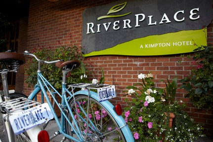 River place entrance with two bikes