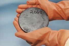 A billet of highly enriched uranium