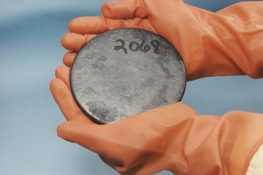 A billet of highly enriched uranium