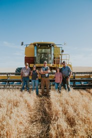 (From left to right) Dale Padget , Kylie Padget, Logan Padget, Brenda Padget and Darren Padget. Three generations of farming working all together. Dale is father to Darren and grandfather to Kylie and Logan.