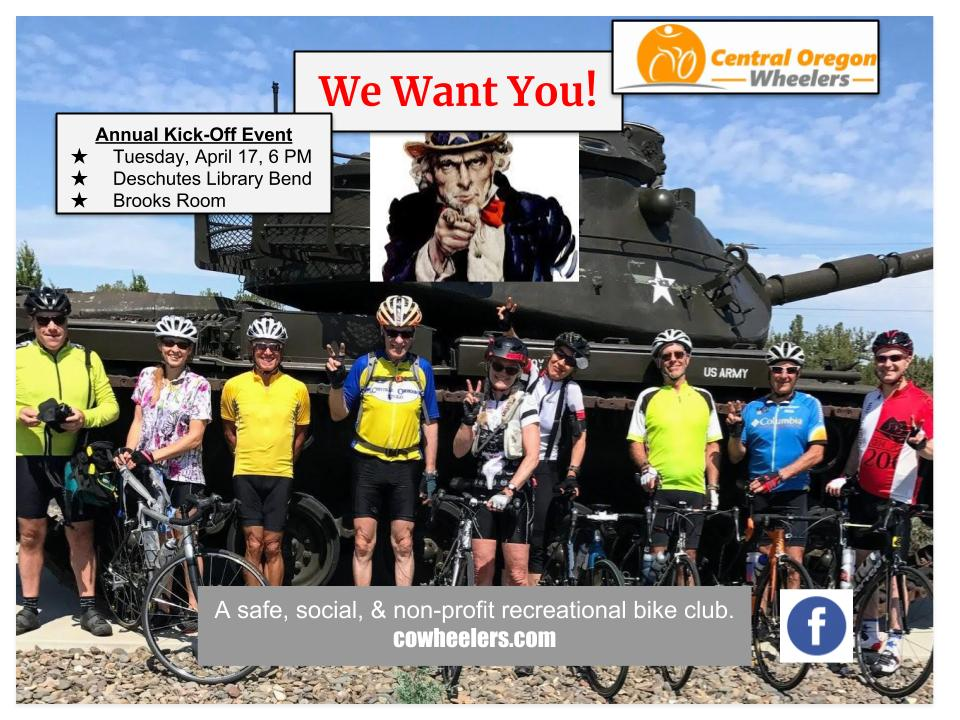 Central Oregon Wheelers Annual Kickoff Event
