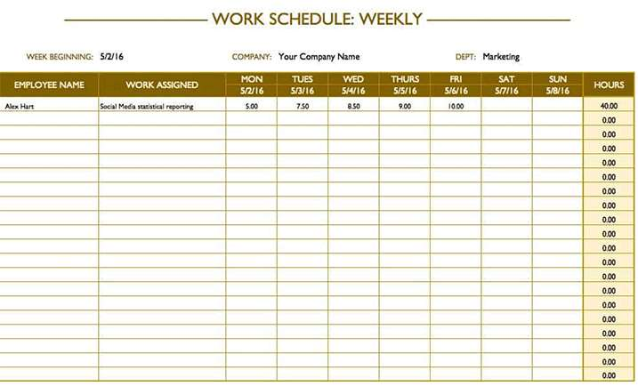 Microsoft excel is a popular spreadsheet tool that you can use to manually track almost anything, including weekly employee performance. Weekly Work Schedule Template Excel This Excel Template Is Use For Making A Weekly Work Template Schedule Sideprojectors Marketplace To Buy And Sell Discover Side Projects