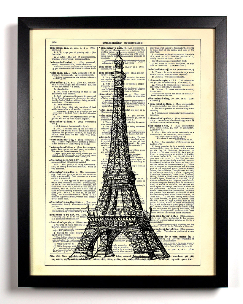 Eiffel Tower Vintage Dictionary Print