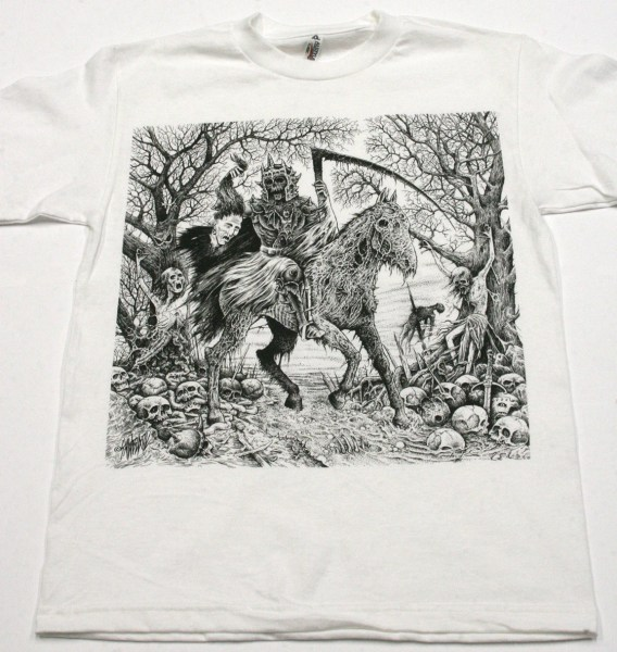 SawBlade Illustration  Steed of Suffering  Screen Printed T shirt on     Sawblade 666 jurassic print screen printed mind snare horse t shirt design  storenvy original