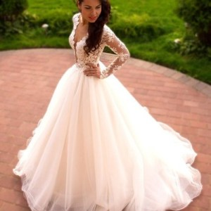 Ball Gown Long Lace Tulle Ivory Wedding Dresses With Sleeves Elegant     Ball Gown Long Lace Tulle Ivory Wedding Dresses With Sleeves Elegant Wedding  Gowns      21weddingdresses      Online Store Powered by Storenvy