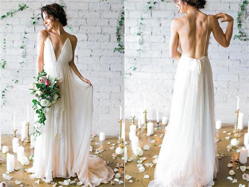 Elegant Ivory Chiffon Long Beach Wedding Dresses,Flowy