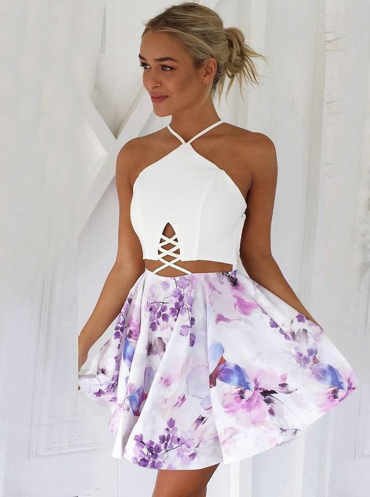 Sling Print Sexy Stitching Homecoming DressSexy Halter