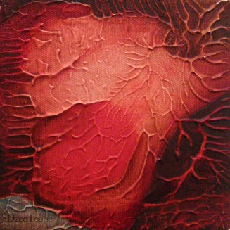 QDP 4, abstract painting, oil on canvas, veins, organs