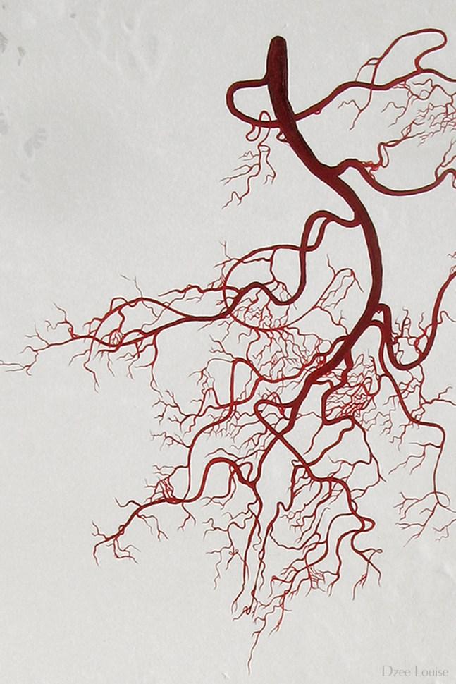 Liaison 3 (detail), oil on panel, arteries, branches, figure