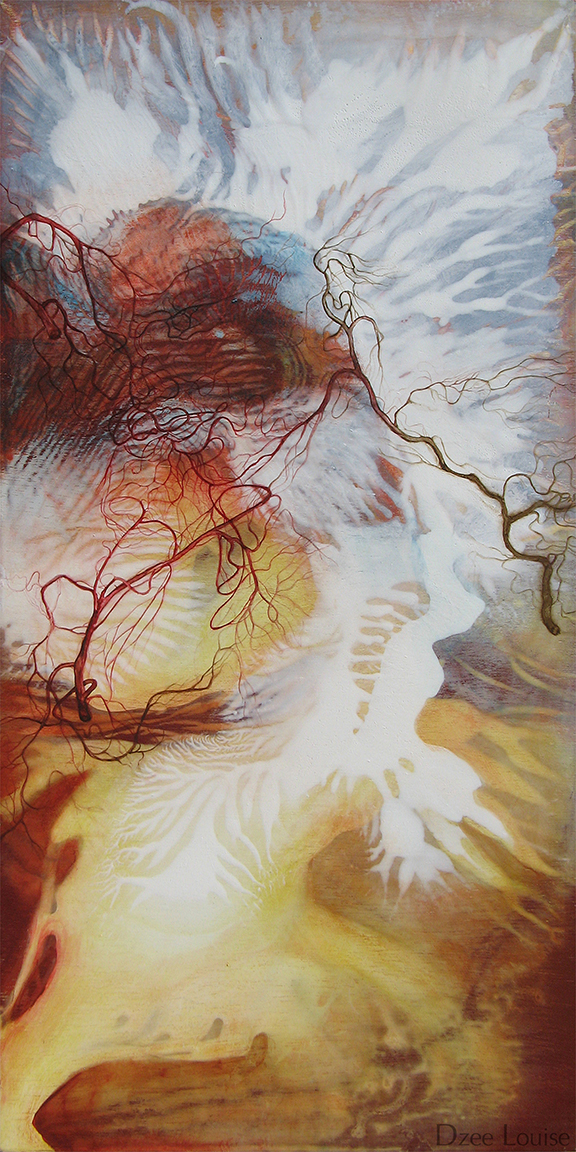 Fire (A little bird told me) - acrylic and watercolour on wood panel - 12 x 24 inches - SOLD