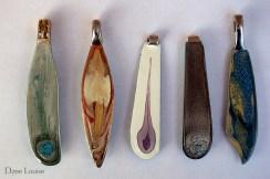 Pendants, butter knife sample, sage, rust, aubergine, charcoal, blue