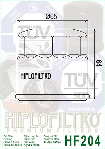 Фильтр масляный HIFLOFILTRO HF204 для мотоцикла