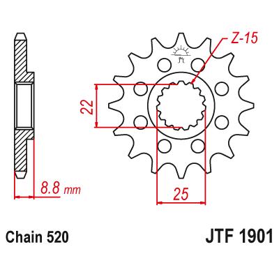 Звездочка ведущая JT JTF1901.15SC зубьев 15 стальная