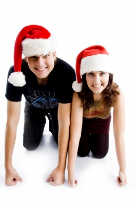 Couple Wearing Christmas Hat