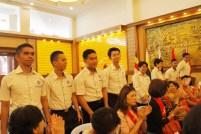 國防部的海陸空軍醫學生出席結營典禮。