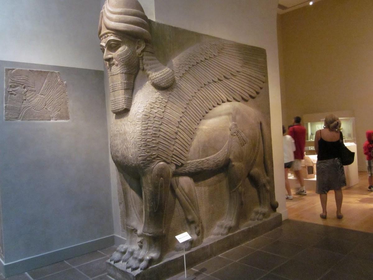 An-original-Lamassu-bull-man-in-the-Baghdad-Museum