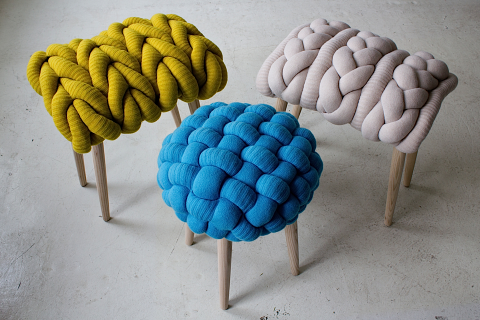 Knitted Stools by Claire-Anne O-Brien