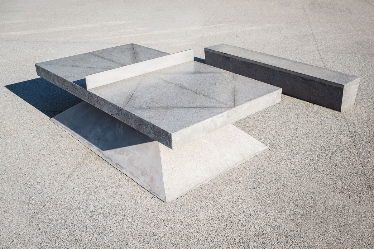 Monoliths - A concrete sculptural Ping Pong Table and Bench - 01