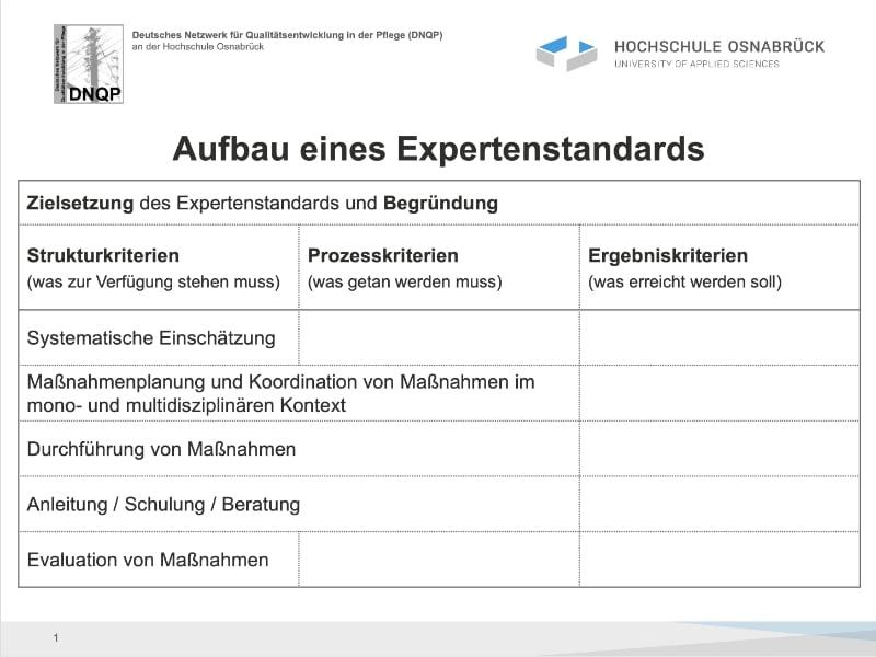 Zielsetzung des Expertenstandards des DNQP und Begründung
